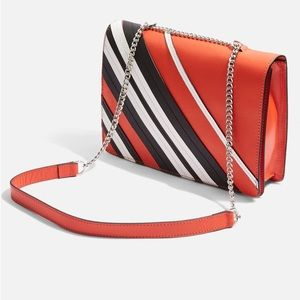 TopShop Sophia Leather Stripe Shoulder Bag. NWT.